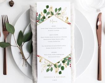 Winter Berry Menu Template, Christmas Wedding, Menu Printable, Instant Download, Templett, Editable