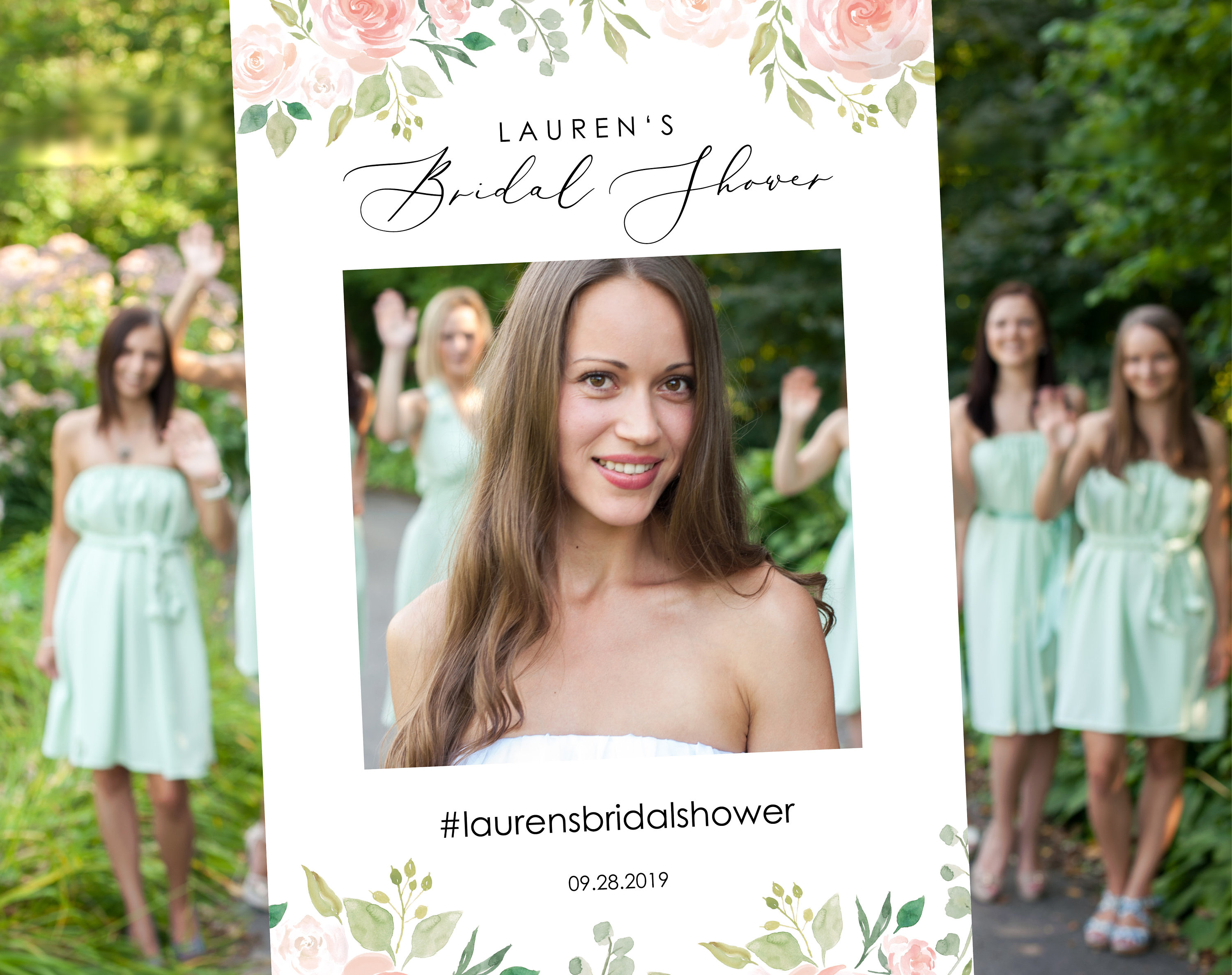 Floral Wedding Bridal Shower Photo Booth Frame Template Printable