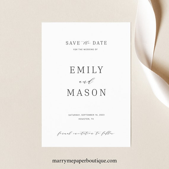 Save the Date Template, Elegant,  Editable Instant Download, TRY BEFORE You BUY