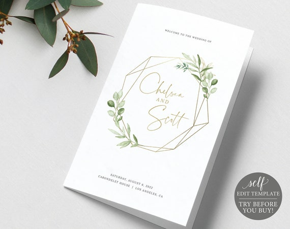 Wedding Program Template Folded, Greenery & Gold, Demo Available, Editable Printable Instant Download, Templett