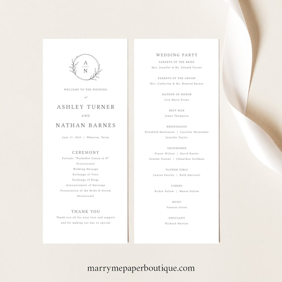Wedding Program Template Tall, Circle Monogram Design, Try Before Purchase, Editable & Printable, Templett Instant Download
