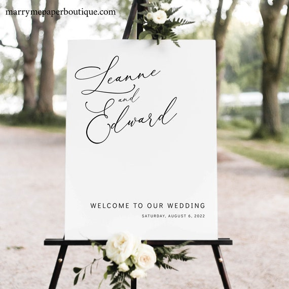 Wedding Welcome Sign Template, Try Before Purchase, Templett Instant Download, Editable & Printable, Portrait Minimalist Style