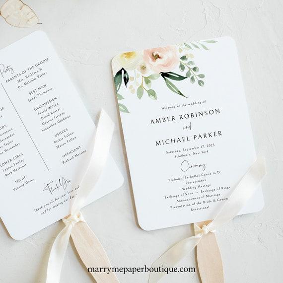 Wedding Program Fan Template, Pink Floral Greenery, Ivory, Wedding Fan Program, Printable, INSTANT Download, Templett, Editable
