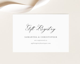 Wedding Registry Card Template, Elegant Romantic Script, Printable Gift Registry, Enclosure Card, Editable, Templett INSTANT Download