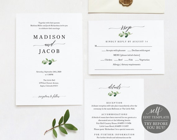Wedding Invitation Set Template, Printable Wedding Invitation, Greenery Wedding,  Printable Greenery Invitation Template, Download, MM07-1C