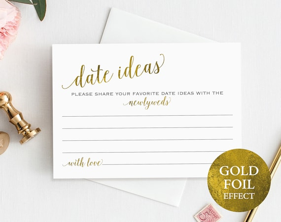 Gold Date Jar Card, Date Ideas, Date Jar, Wedding Advice Card, Date Advice, Wedding Printable, Newlyweds, PDF Instant Download, MM01-3