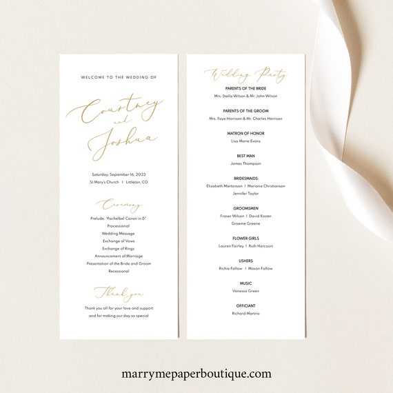 Wedding Program Template, Elegant Gold Script, Wedding Ceremony Program, Printable, Editable, Tall, Templett INSTANT Download