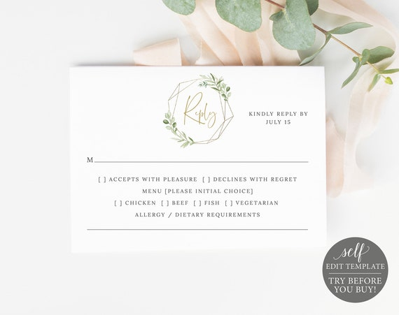 RSVP Template, Greenery & Gold, Editable Printable Instant Download, Try Before You Buy, Templett