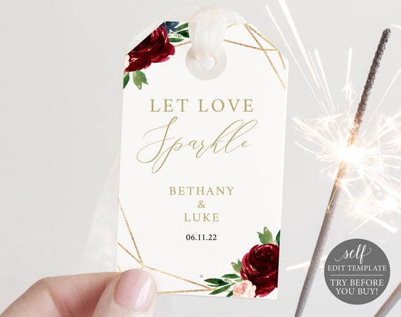 Sparkler Tag Template, Burgundy Geometric, Demo Available, Editable & Printable Instant Download