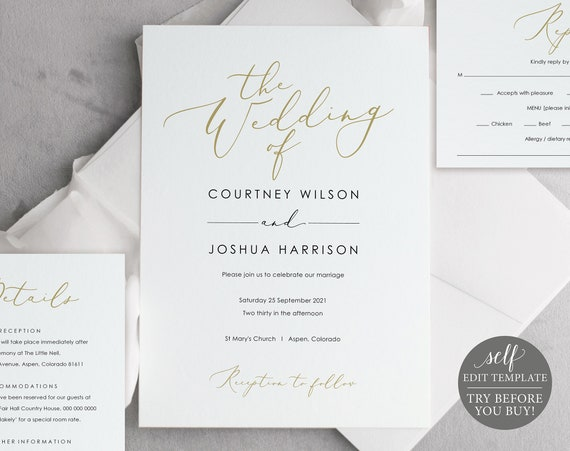 Wedding Invitation Set Templates, Elegant Gold, TRY BEFORE You BUY, 100%  Editable Instant Download