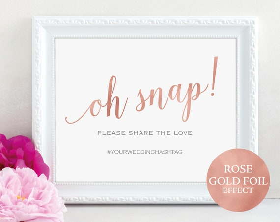 Rose Gold Wedding Hashtag Sign Template, Printable Oh Snap Sign Template, Oh Snap Wedding Sign, Instagram Sign, PDF Instant Download, MM01-7