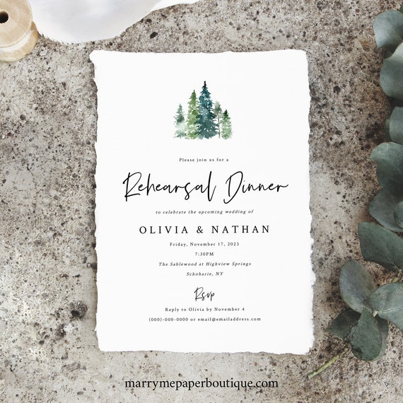 Pine Forest Wedding Rehearsal Dinner Invitation Template, Rustic Pine Trees, Rehearsal Invite, Printable, Editable, INSTANT Download