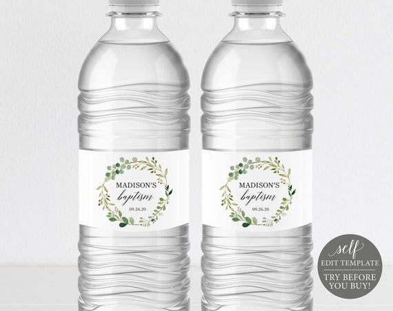 Baptism Water Bottle Label Template, TRY BEFORE You BUY, 100% Editable Label Printable, Instant Download, Greenery