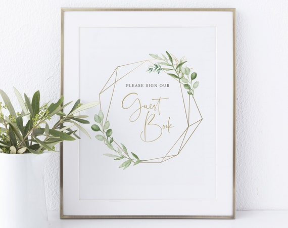 Guest Book Sign Template, Greenery & Gold, Instant Download Non-Editable