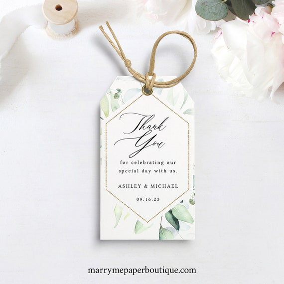 Wedding Favor Tag Template, Classic Greenery, Wedding Tag Printable, Templett INSTANT Download, Editable