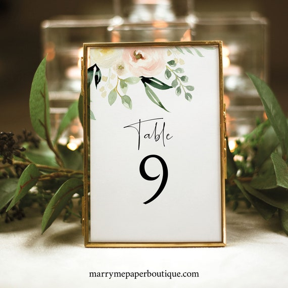 Table Number Template, Pink Floral Greenery, Ivory, Printable Table Number Sign, Templett, Editable, INSTANT Download