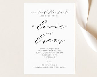 Wedding Announcement Template, Elegant Calligraphy, Printable Reception Party Invitation, We Tied The Knot, Templett INSTANT Download