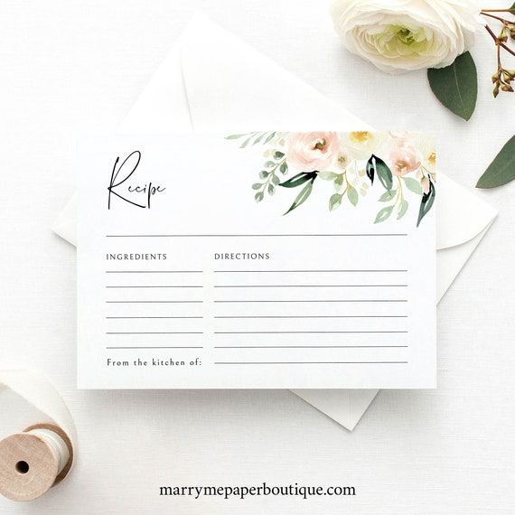 Recipe Card Template, Pink Floral Greenery, Ivory, Recipe Card Printable, Bridal Shower Recipe, Editable, Templett INSTANT Download