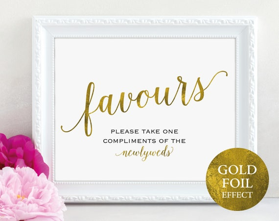 Gold Wedding Favour Sign, Newlyweds, Favours Sign, Favour Printable, Wedding Printable, Wedding Template, PDF Instant Download, MM01-3