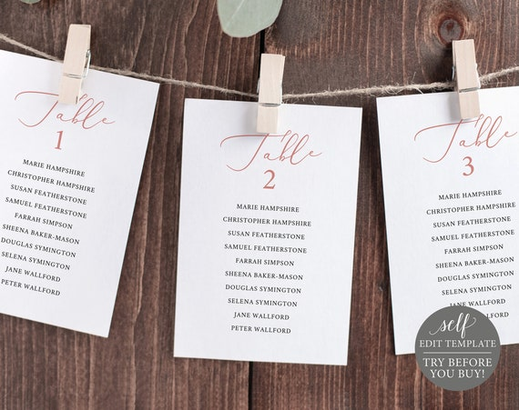 Seating Cards Template, Editable Instant Download, TRY BEFORE You BUY, Rose Gold Script