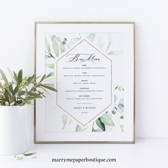 Bar Menu Template, Classic Greenery, Wedding Drinks Menu, Printable, Editable, Templett INSTANT Download