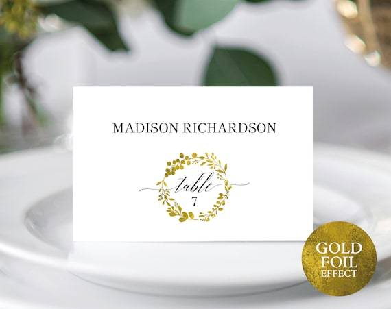 Faux Gold Wedding Seating Card Template, Printable Place Cards, Editable Seating Cards Gold, Gold Table Cards, PDF Instant Download, MM07-3