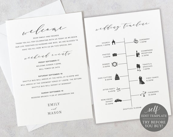 Wedding Itinerary Card Template, TRY BEFORE You BUY, 100% Editable Instant Download, Formal & Elegant