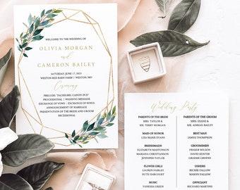 Wedding Ceremony Program Template, Greenery Wedding Program Printable, Geometric, 5x7, Editable, Templett INSTANT Download