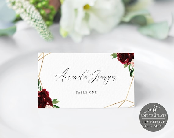 Place Card Template, Demo Available, Printable Editable Instant Download, Burgundy Geometric
