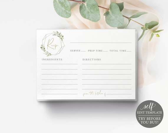Recipe Card Template, Greenery & Gold, Demo Available, Editable Printable Instant Download, Templett