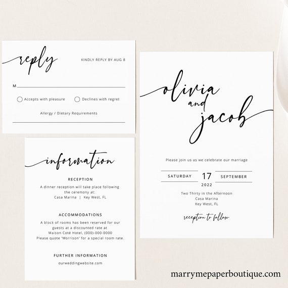 Wedding Invitation Template Set, Modern Calligraphy, Editable & Printable Instant Download, Templett, Try Before You Buy