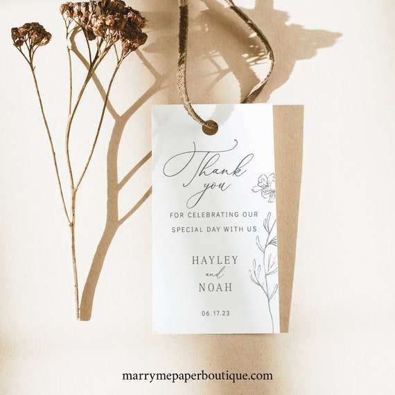 Wedding Favor Tag Template, Floral Botanical,  Editable Instant Download, TRY BEFORE You BUY