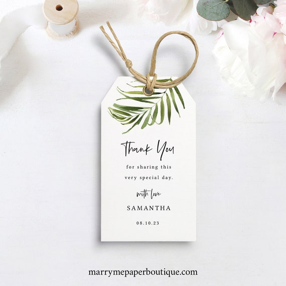 Tropical Favor Tag Template, Beach Wedding Gift Tag Printable,  Templett, Editable, Instant Download
