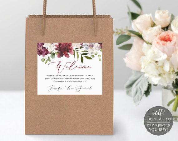 Welcome Bag Label, Wedding Box Label, 100% Editable, Hotel Bag Label Printable, Gift Bag Label Template, Instant Download, Burgundy Floral