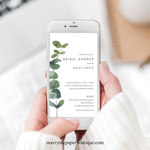 Digital Bridal Shower Text Invitation Template, Elegant Eucalyptus, Greenery Bridal Shower Text Invite, Templett INSTANT Download, Editable