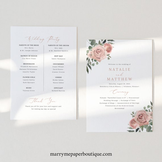 Wedding Program Template, Dusky Pink Floral, Wedding Ceremony Program, Printable, Editable, Dusty Pink, Templett INSTANT Download