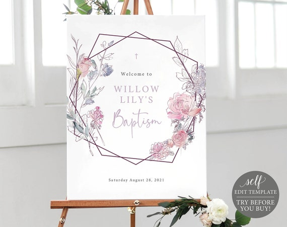 Baptism Sign Template, 100% Editable Instant Download, Pink Lilac Floral, TRY BEFORE You BUY