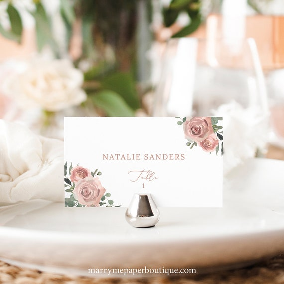 Wedding Place Card Template, Dusky Pink Floral, Editable Flat & Tent Place Cards, Printable, Templett INSTANT Download