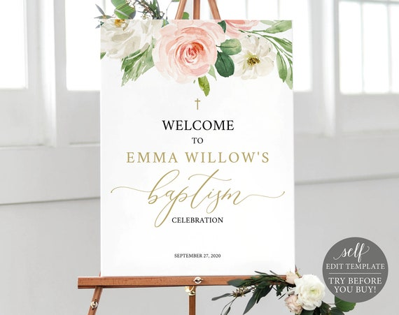 Baptism Welcome Sign Template, TRY BEFORE You BUY, Editable Instant Download, Blush Pink Floral