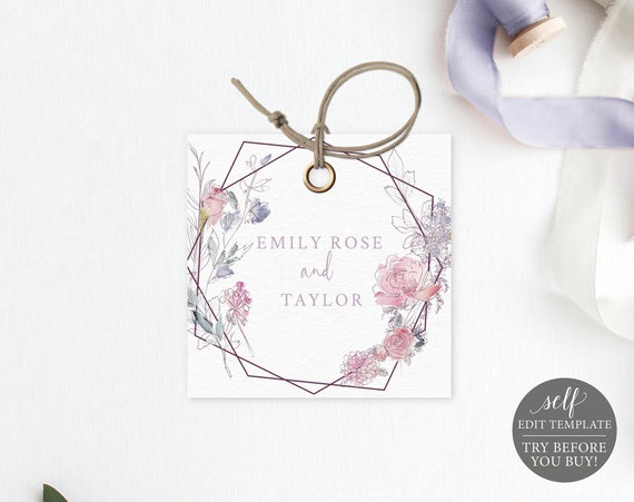 Square Tag Template, Pink & Lilac Floral, Templett, Editable Printable Instant Download, TRY BEFORE You Buy