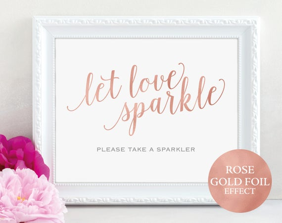 Rose Gold Let Love Sparkle Sign, Wedding Sparkler Sign, Sparkler, Wedding Printable, Wedding Sparkler Sign, PDF Instant Download, MM01-7