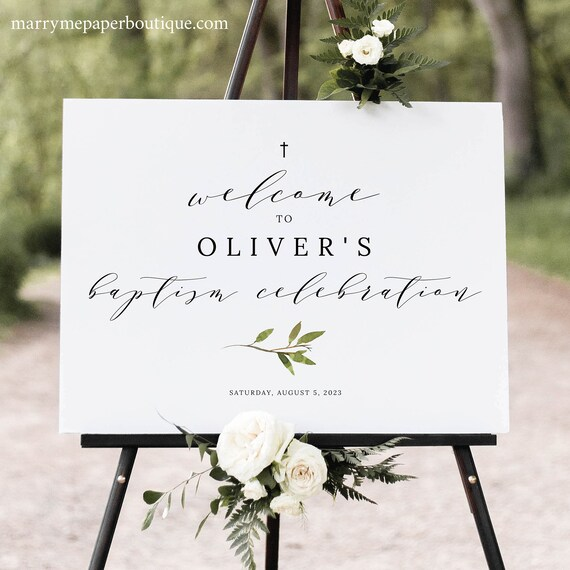 Greenery Baptism Welcome Sign Template, Baptism Sign Printable, Green Leaf, Instant Download, Templett Editable