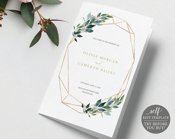 TRY BEFORE You Buy! Ceremony Program Template, Wedding Printable, 100% Editable Instant Download