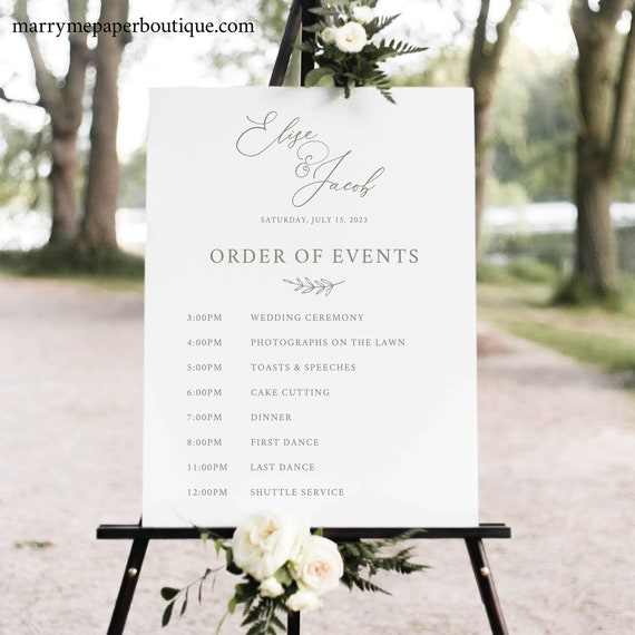 Wedding Itinerary Sign Template, Editable Instant Download, TRY BEFORE You BUY, Elegant Font