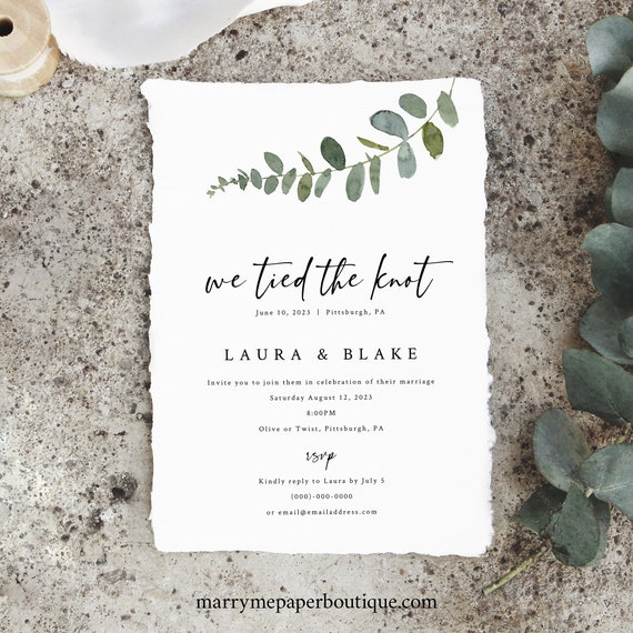 We Tied The Knot Wedding Announcement Template, Eucalyptus Greenery, Printable Reception Party Invitation, Templett INSTANT Download