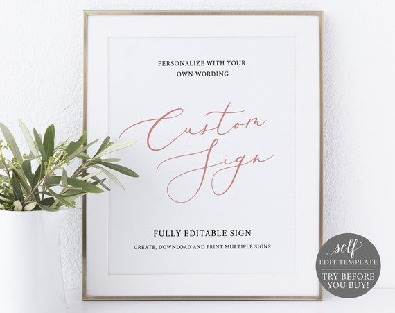 Create MULTIPLE Signs Template, 8x10 Rose Gold, 100% Editable Instant Download, TRY BEFORE You Buy