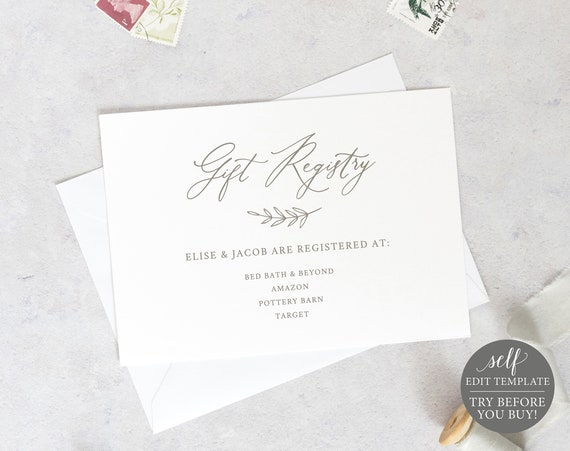 Gift Registry Card Template, 6x4 Editable Instant Download, TRY BEFORE You BUY, Elegant Font
