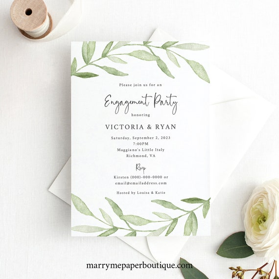 Engagement Party Invitation Template, Greenery Leaves, Order Edit & Download In Minutes, Try Before Purchase