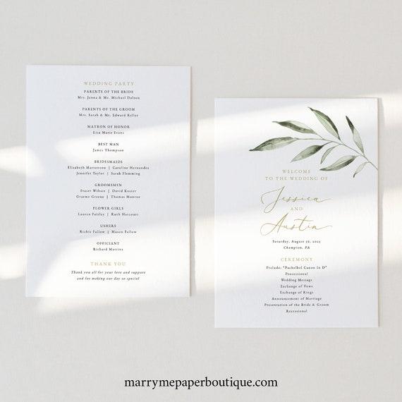 Wedding Program Template, Olive Leaf Greenery, Wedding Ceremony Program Printable, Order of Service, Editable, Templett INSTANT Download