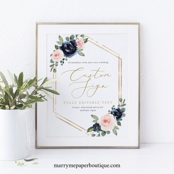 Wedding Sign Bundle Template Set, Navy & Blush Floral, Printable Wedding Signs, Editable, Templett INSTANT Download, Portrait
